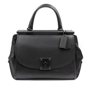 Coach Drifter Top Handle Satchel Mixed Leather Blk